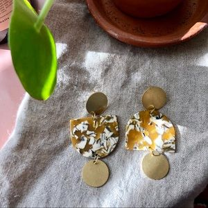 Handmade Raw Brass and Acetate Geometric Earrings
